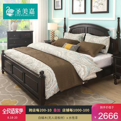 美式乡村实木床1.8米双人婚床1.5米柱子床储物主卧室家具复古家用