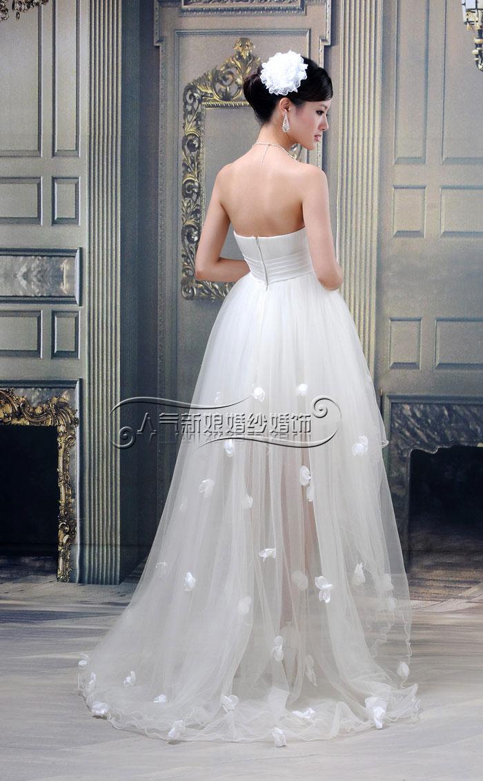 Свадебное платье Popular Bride HS1250 2013 года Атлас, сатин Впереди короткое со шлейфом сзади Корейский
