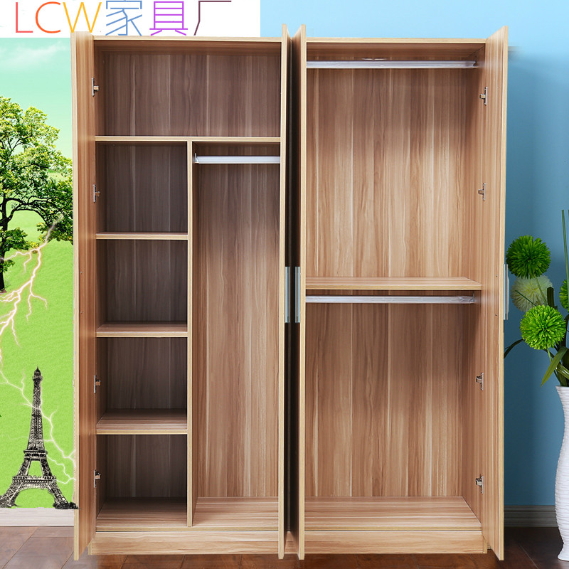 衣柜实木质板式组合 整体衣柜推拉门简约现代2门3门4门儿童大衣柜