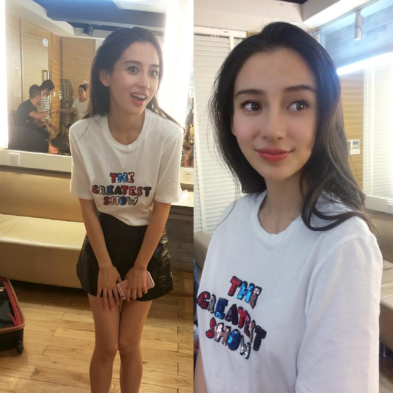 angelababy杨颖同款夏季新款短袖t恤女 宽松韩国学生韩版大码上衣