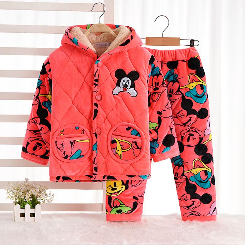 贝贝绒儿童睡衣法兰绒冬季家居服男女童小孩卡通加厚保暖连帽套装