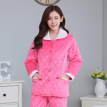 冬季加厚女士睡衣女冬款珊瑚绒春秋冬季纯色长袖法兰绒家居服套装