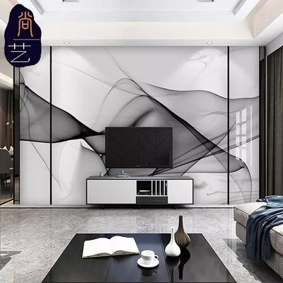 现代简约抽象水墨线条大理石纹电视背景墙微晶背景墙墙面微晶石3d