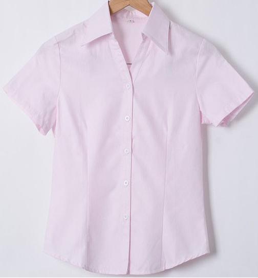 женская рубашка Корейская версия Office OL женщин хлопок дамы тонкие короткие саржевого рубашку оккупации Спецодежда белая блузка рубашка размер Повседневный Короткий рукав В полоску V-образный вырез Один ряд пуговиц