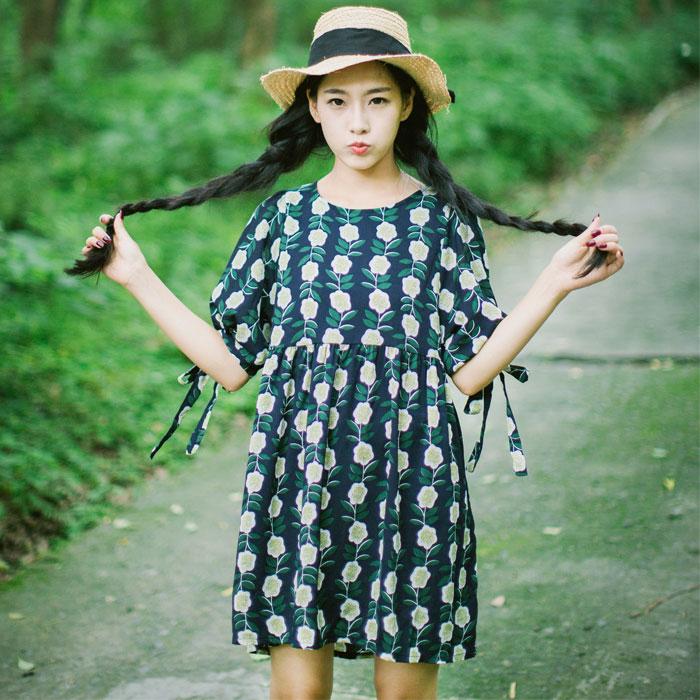 安小落 2016夏装新复古圆领花朵短款连衣裙 袖口系带宽松A字裙女