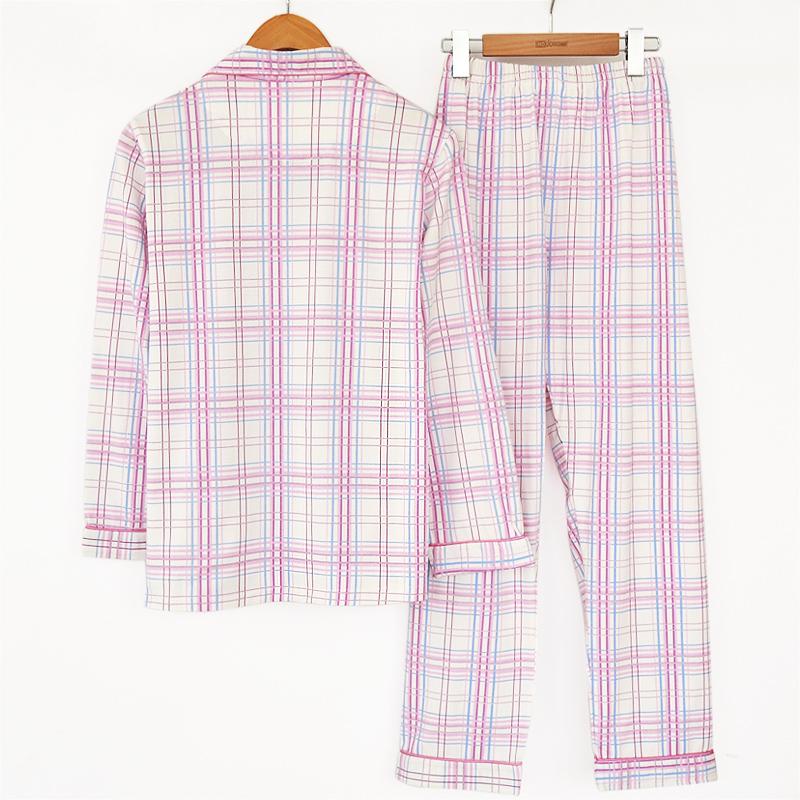 Пижама Hodohome 0J517 Хлопковый трикотаж В клетку Двубортная застежка Для отдыха дома Жен.