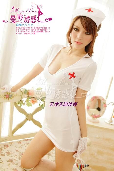 Комплект эротического нижнего белья Сексуальное белье XL равномерное искушение эротических женщин сексуальная медсестра костюм 8916 Наряд медсестры Модифицированное вискозное волокно Облегающая