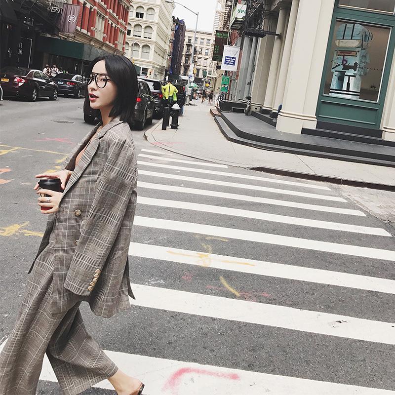 【13C】通勤双排扣复古小时髦长袖2017秋季新品格子西装外套FI40