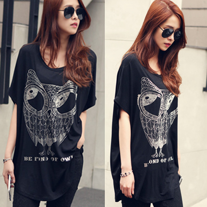 New ladies summer Joker bat sleeve t loose shirt slim plus size short sleeve bat Korean tide girls summer