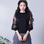 烟花烫ZY秋装女2018新款气质淑女蕾丝灯笼袖镂空宽松针织衫 画纱