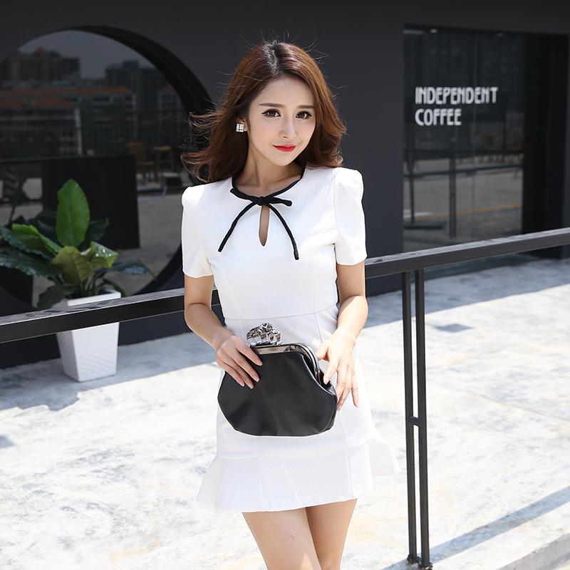 韩版鱼尾裙女夏 2016新款白色短袖连衣裙纯色短裙气质修身裙子