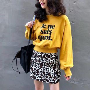 韩国女装新款 2018东大门秋季新品 GRE字母印花圆领长袖短卫衣T恤