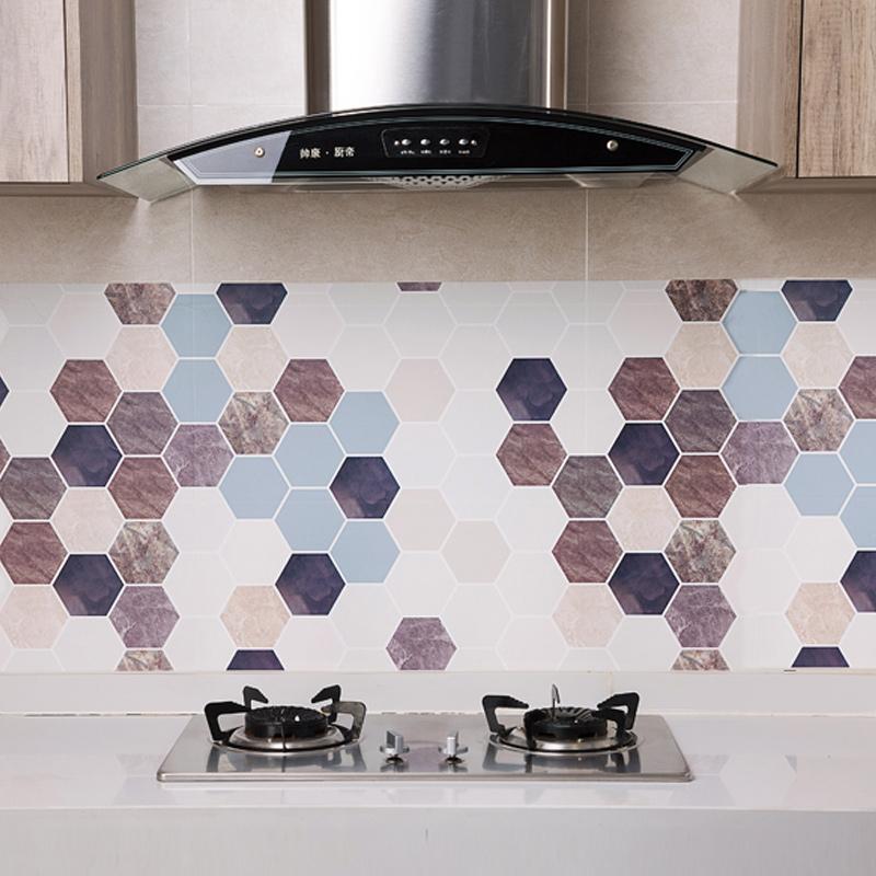 居家家 六角砖防油贴纸厨房壁纸防油纸 浴室家用防水自粘墙纸墙贴