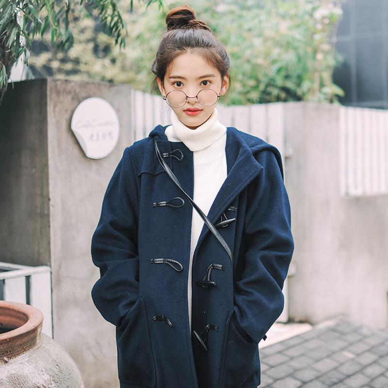 春冬连帽牛角扣中长款毛呢外套女学生长袖呢子大衣韩版宽松学院风