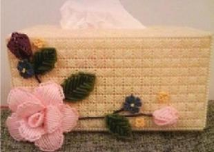 Three-dimensional cross-stitch embroidery kit blooming roses tissue box