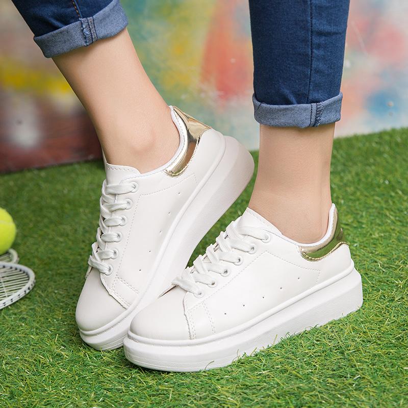 2016新款小白鞋白色休闲运动鞋女春季韩版厚底学生板鞋跑步鞋子潮