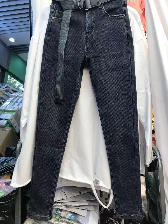 韓國貨女主角正品冬新款加厚絨小腳牛仔褲高腰藍灰彈力緊身牛仔褲
