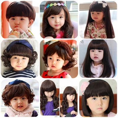 儿童假发 女孩假发造型小孩女宝宝长发女童短卷发公主婴儿假发帽