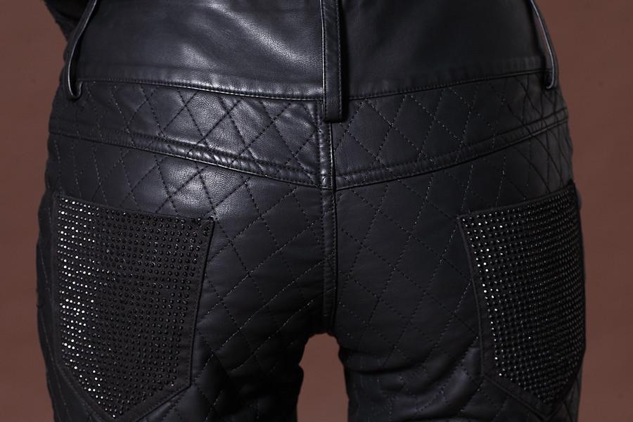 Женские брюки Suobado PU Длинные брюки Узкие брюки-карандаш Городской стиль Зима 2013, Осень 2013 Разное Молния