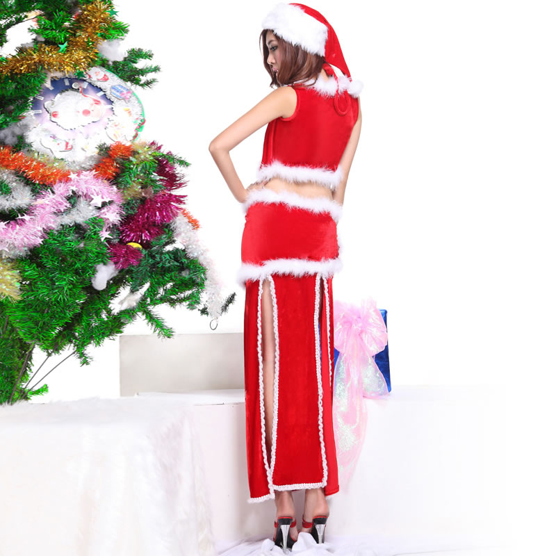Dancing Nightclub Sleeveless Two Tone Women Dance Christmas Cosplay Costume