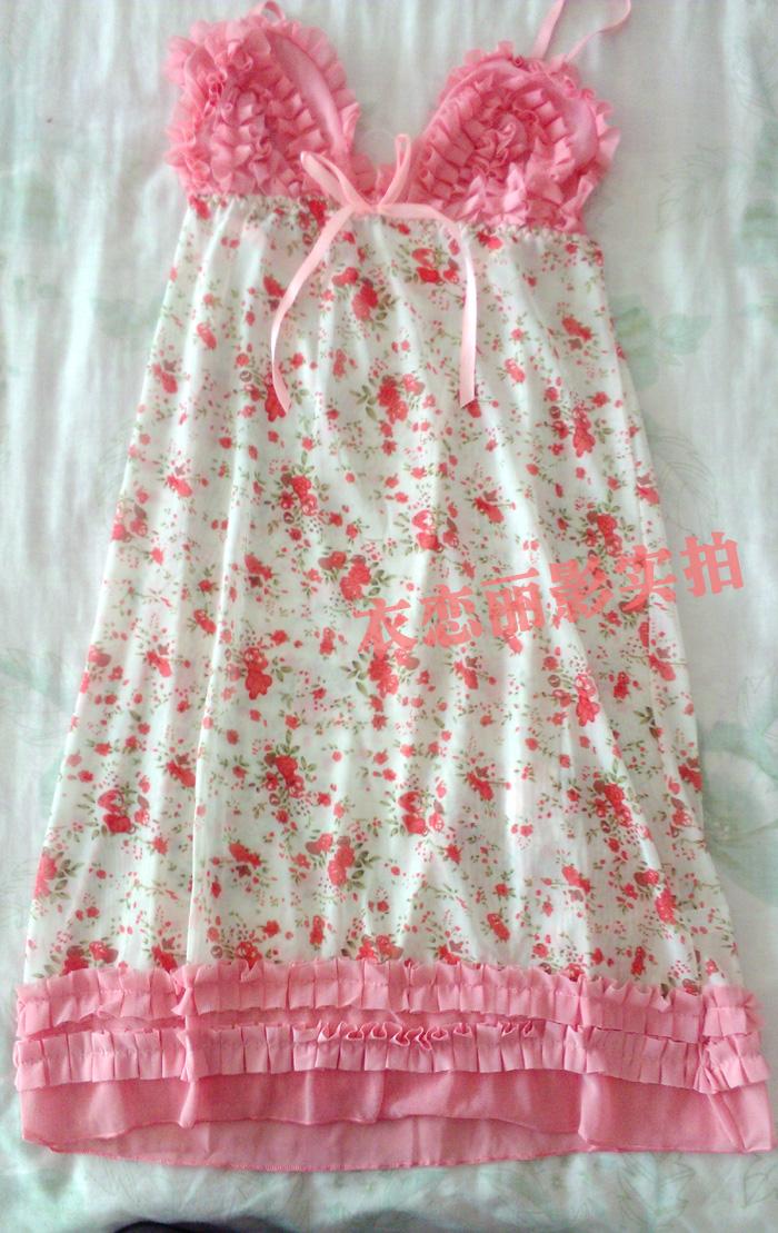 Ночная рубашка Аутентичные электронной почты Сексуальное белье летом цветочные ремень ночная рубашка бутон шелковой пряжи и прекрасный белье прозрачной рубашке девушка искушение Сетка V-образный вырез Лето