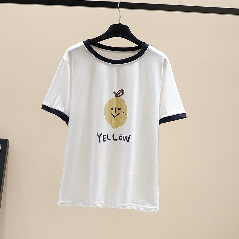 2020夏新款圆领撞色短袖韩版宽松百搭可爱印花字母纯棉薄款t恤女