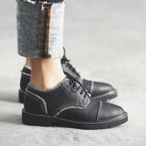 MASOOMAKE复古尖头小皮鞋英伦风女鞋 2017新款春季系带单鞋女平底