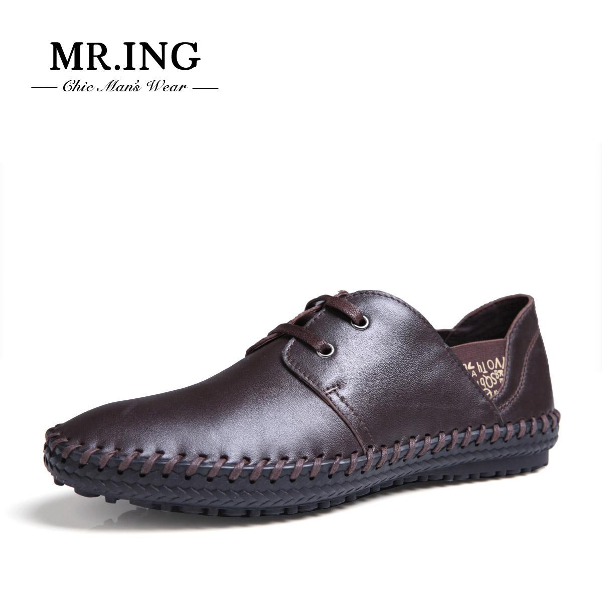 Демисезонные ботинки Mr. ing [F1327] Mr.ing F1370 Для отдыха Верхний слой из натуральной кожи Круглый носок Шнурок Весна и осень