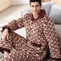 睡衣男冬季加厚加绒珊瑚绒夹棉男士保暖三层法兰绒男式家居服套装
