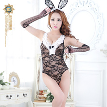 Sexy Bunny Rabbits Party Uniforms With Lingerie Live-action See-through Lace Lure Kit