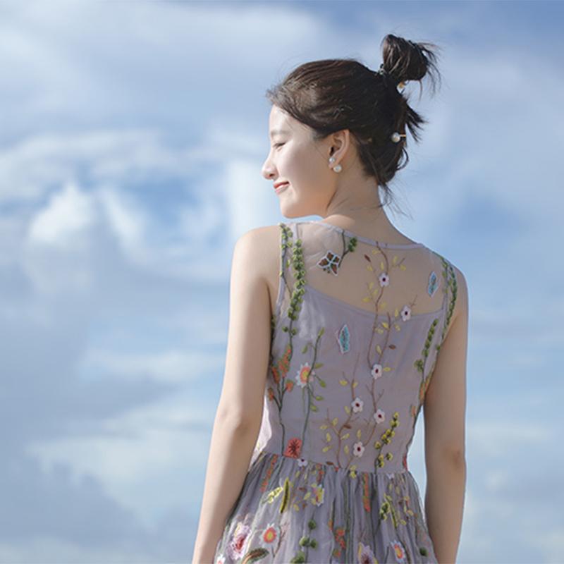 轻奢系大喜自制 爱丽丝花园精工绣花复古长短款无袖吊带连衣裙女