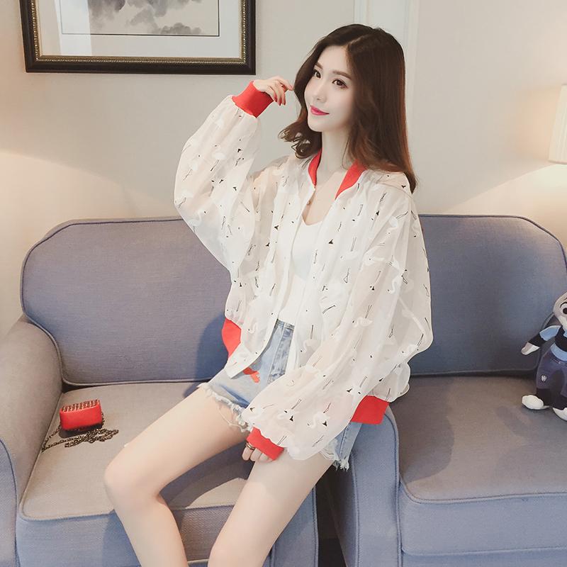 春夏季新款韩版性感透视欧根纱外套女长袖防晒衣宽松夹克棒球服潮