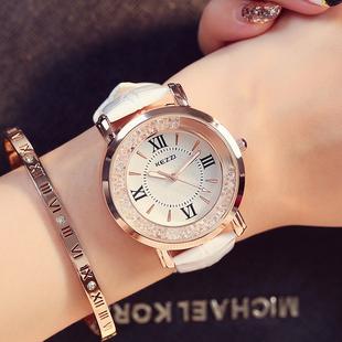 手表女学生正品韩国潮流时尚水钻女腕表石英表休闲时装表皮带手表