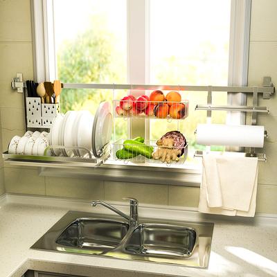 免打孔沥水架碗碟架厨房置物架304不锈调料用品收纳架砧板架挂杆
