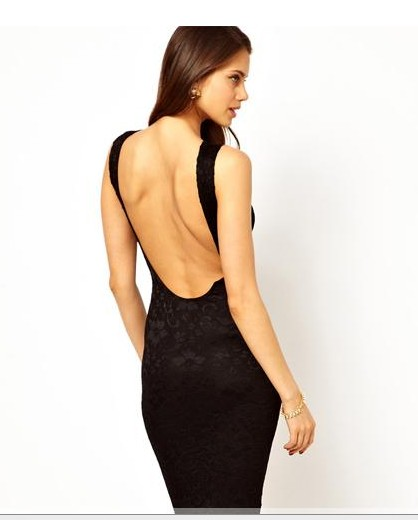 Perspective lace sleeveless deep V dew back of a U-shaped stretch dress skirt Slim dress skirt haoduoyi shipping