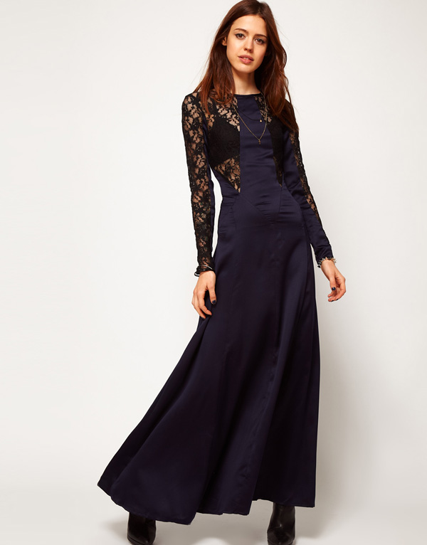 Black lace and blue satin stitching Slim waist skirt dew back through a sense of banquet dress haoduoyi free shipping