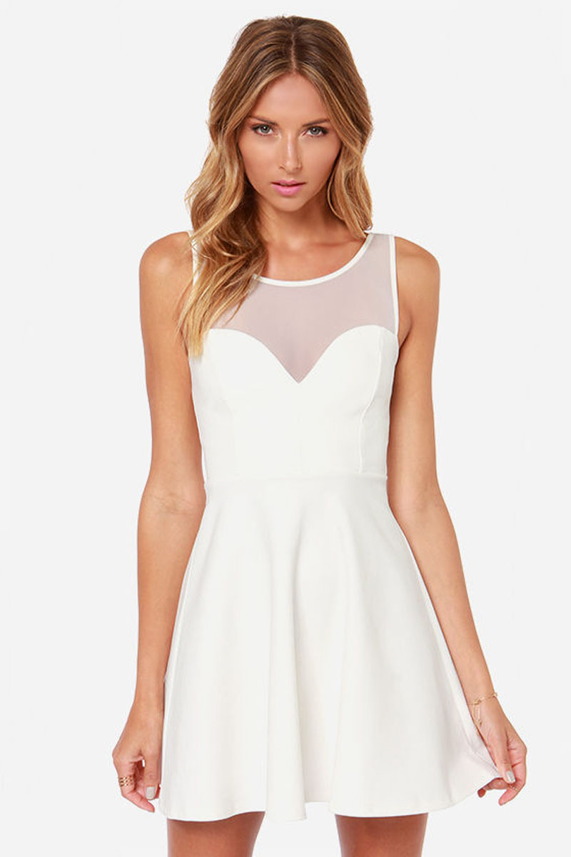 Chic ivory white stitching stretch fabric mesh back bow sleeveless dress haoduoyi
