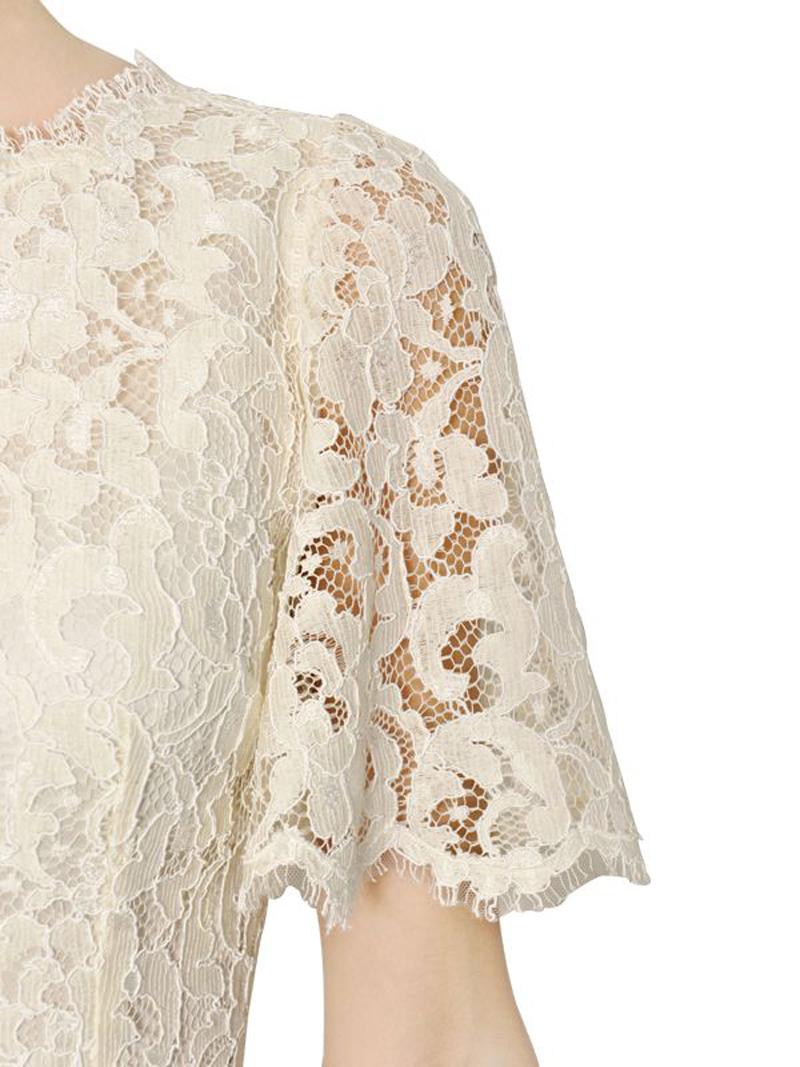 Luxurious design style white lace eyelash lace big fan sleeve princess dress dress haoduoyi