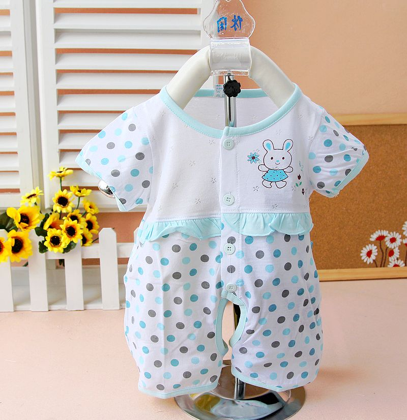 CalixBey Cotton Dot Printing Short Sleeve Round Collar Baby Jumpsuits