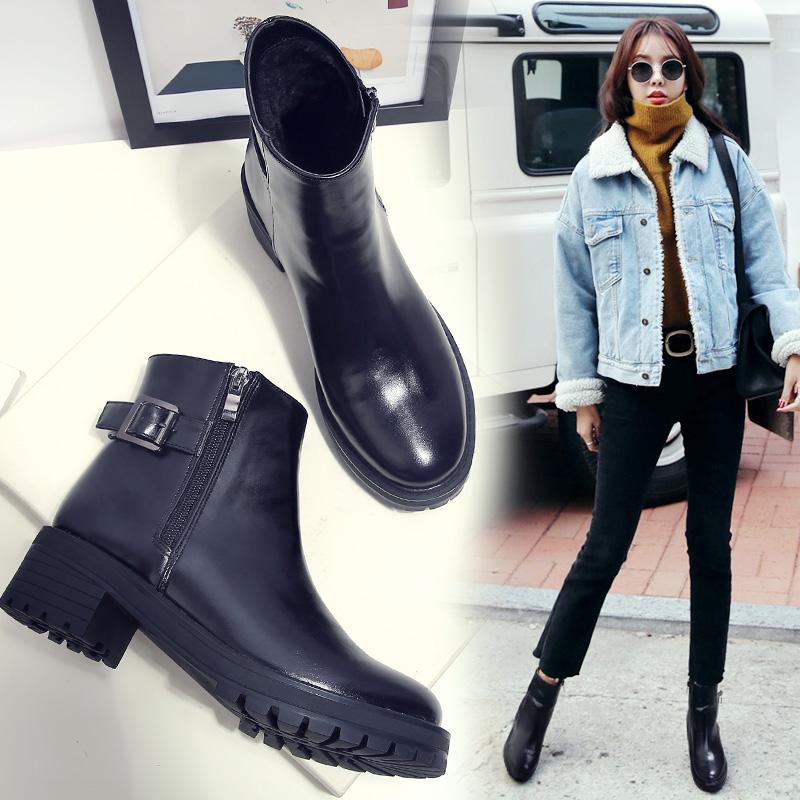 雪地靴女短靴女平底马丁靴英伦风粗跟棉鞋女鞋2016新款秋冬季靴子