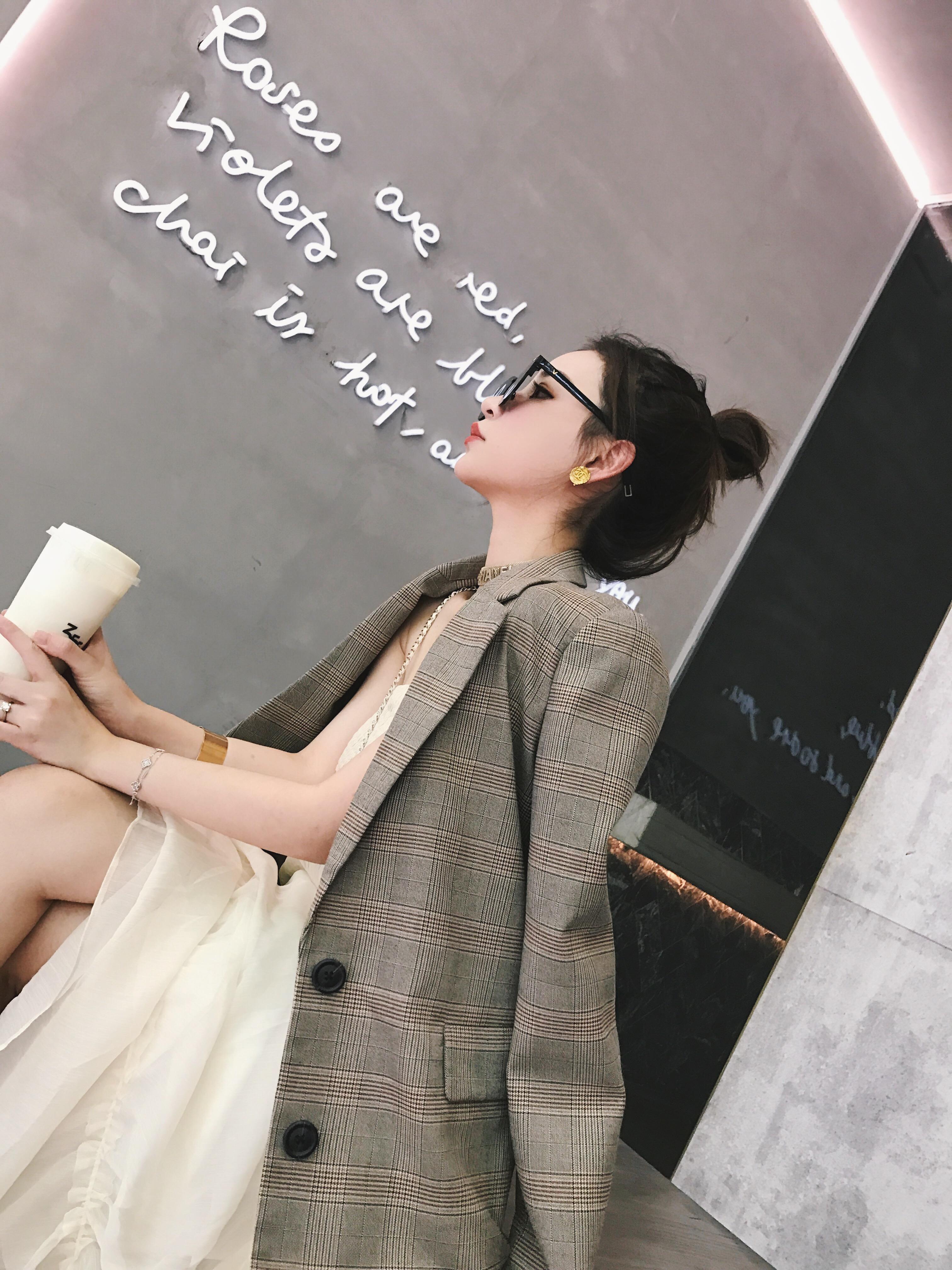 钱夫人 CHINSTUDIO韩版chic格子西装外套女宽松显瘦休闲小西装潮