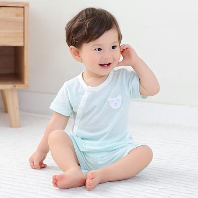 婴儿短袖套装纯棉夏季薄款男女宝宝3个月全棉睡衣0-1岁夏装空调服