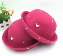 女童韩版毛呢珍珠礼帽时尚公主可调节