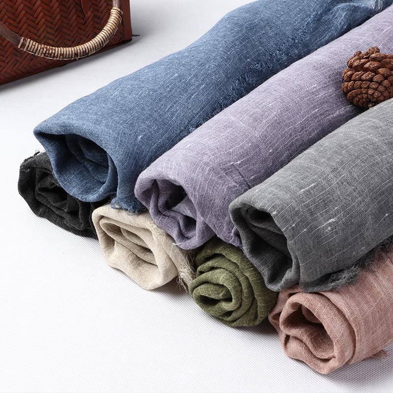 自然小铺 原创设计亚麻围巾复古文艺纯色大围巾披肩