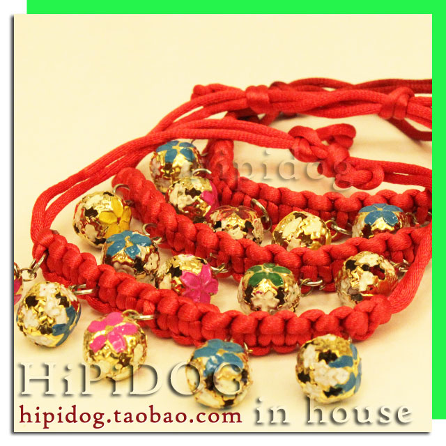 Ошейник для животных Ручного ткачества подготовка pet воротники с колоколами маленькая собака ожерелье ювелирные изделия, которые VIP Тедди собаки любимчика поставляет