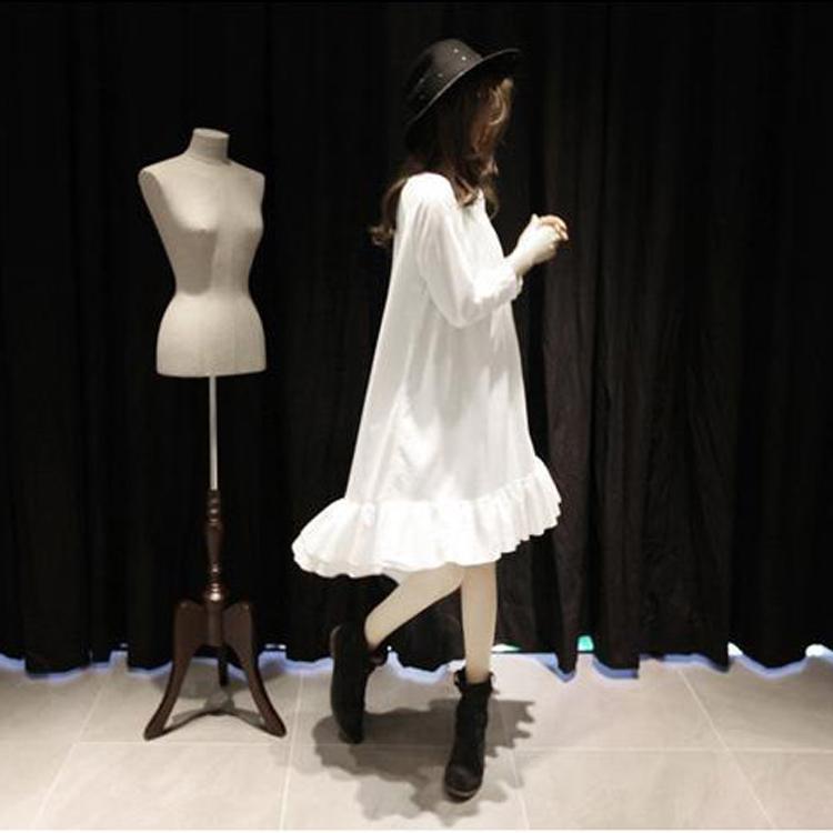 友家女装秋季新款时尚减龄宽松超柔软长袖荷叶边连衣裙打底裙学生