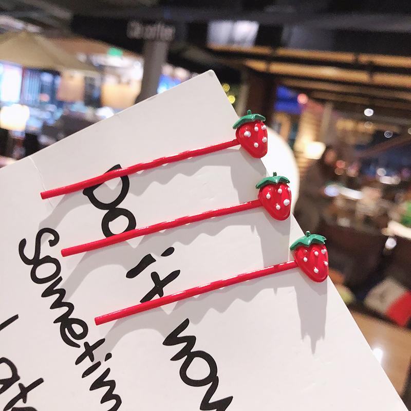 日系水果可爱草莓发夹lolita夹子少女心一字夹网红边夹刘海夹发饰