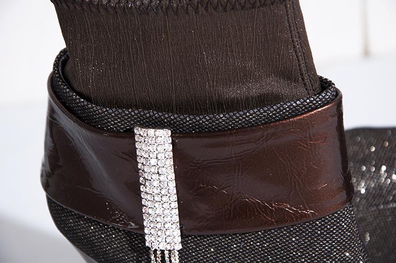 Каблук-рюмочка Без шнуровки Высокий каблук (более 8 см) Клееная обувь Водонепроницаемая платформа, Декоративный пояс, Стразы Однотонный цвет