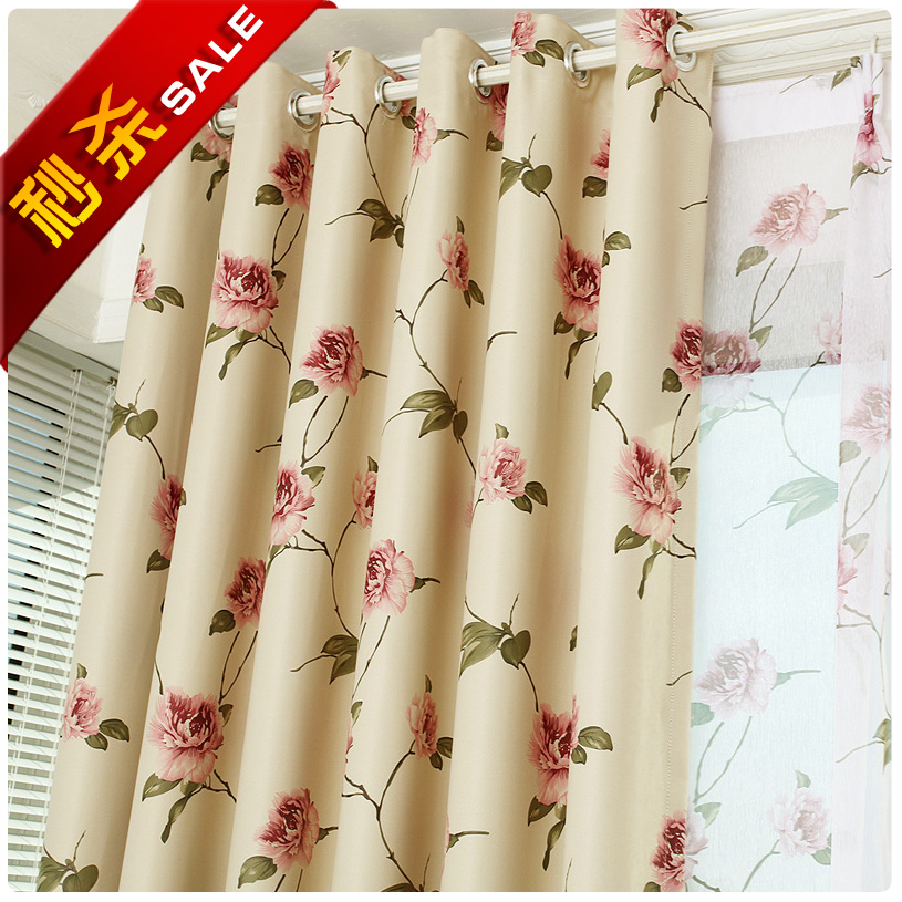 Environmental protection high-end thickened shading brigor European pastoral bedroom refined custom curtains * tulip
