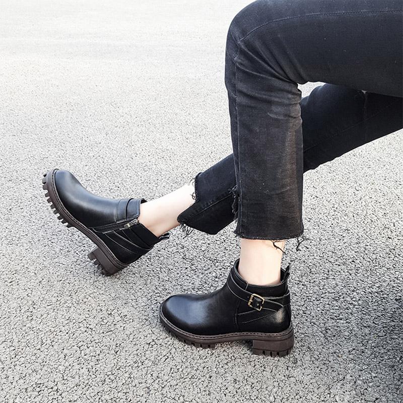 秋冬中粗跟机车靴防水台短靴女加绒加厚毛保暖侧拉链及裸马丁靴子